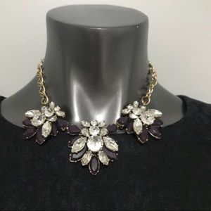 J. Crew Purple Crystal Statement Necklace